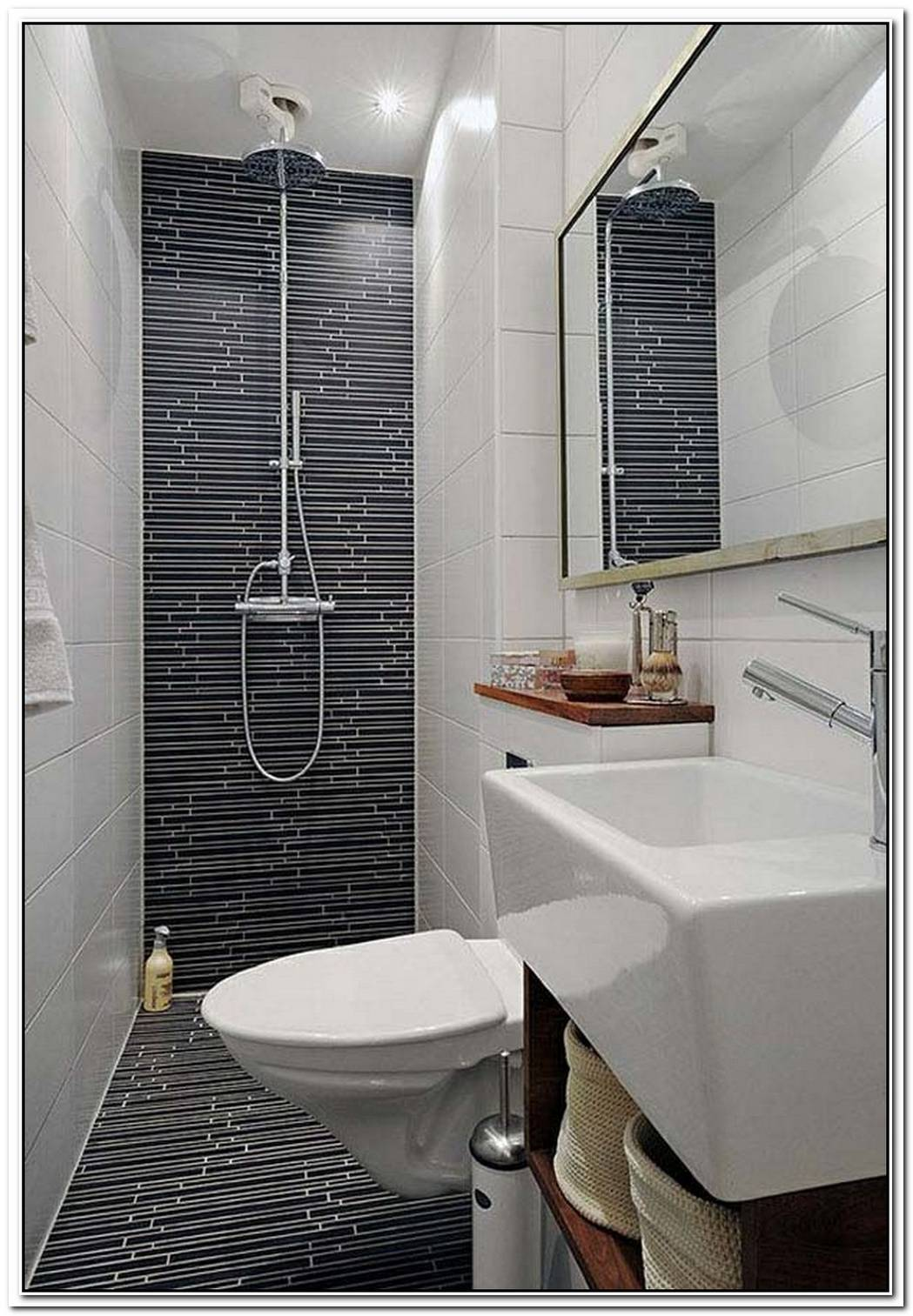 Grey Feature Wall Luxury Bathroom Small Space