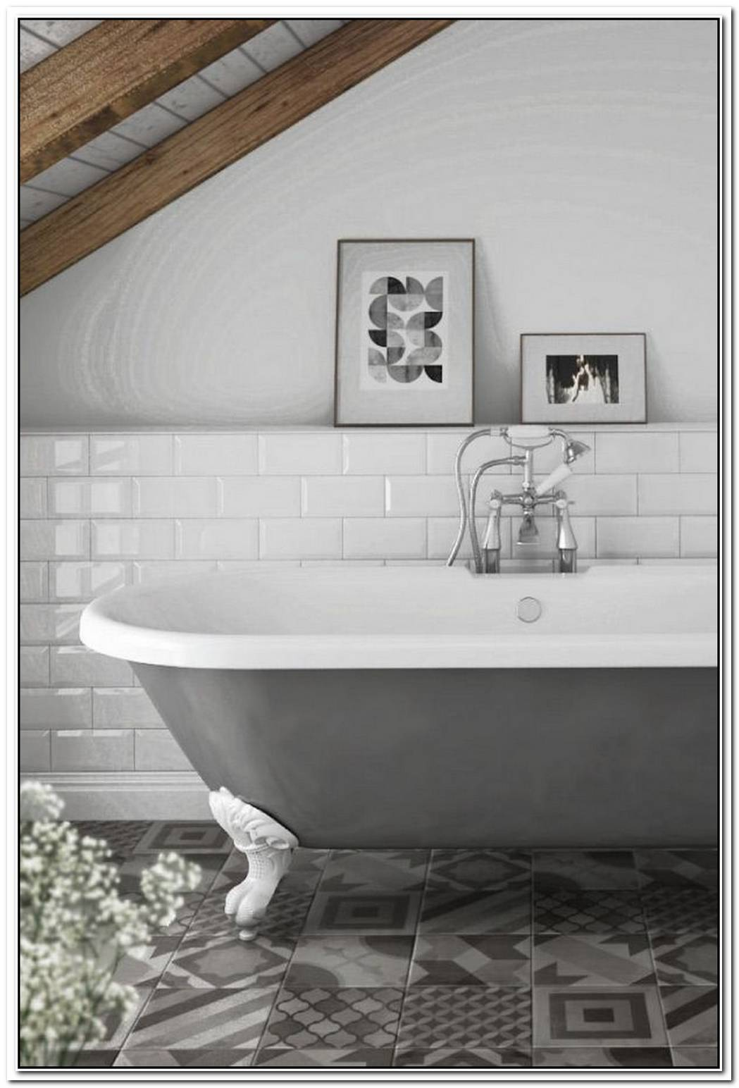 Grey Roll Top Bath Traditional Bathroom