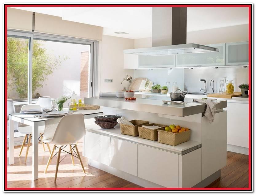 Hermoso Isla De Cocina Con Mesa Fotos De Mesas Ideas