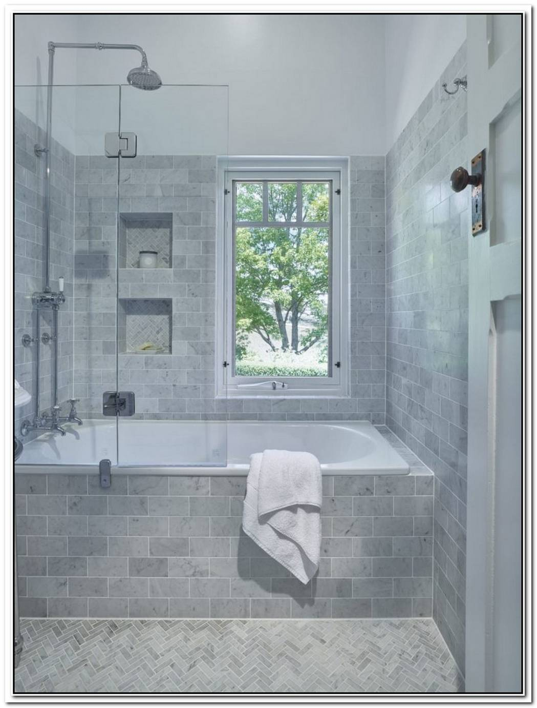 Herringbone Modern Traditional Bathroom