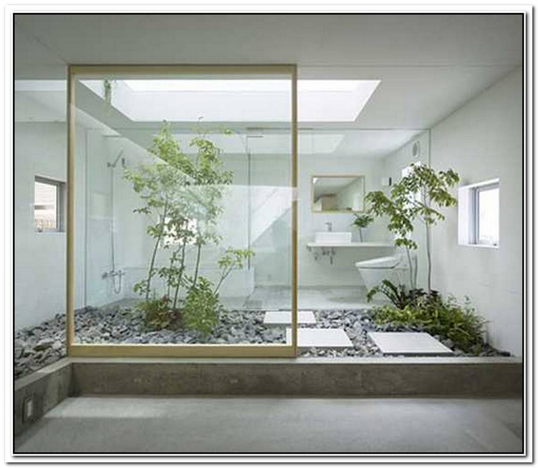 Indoor Plant Contemporary Bathroom