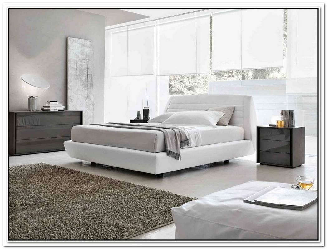 Leather Bed In White Wkith Storage