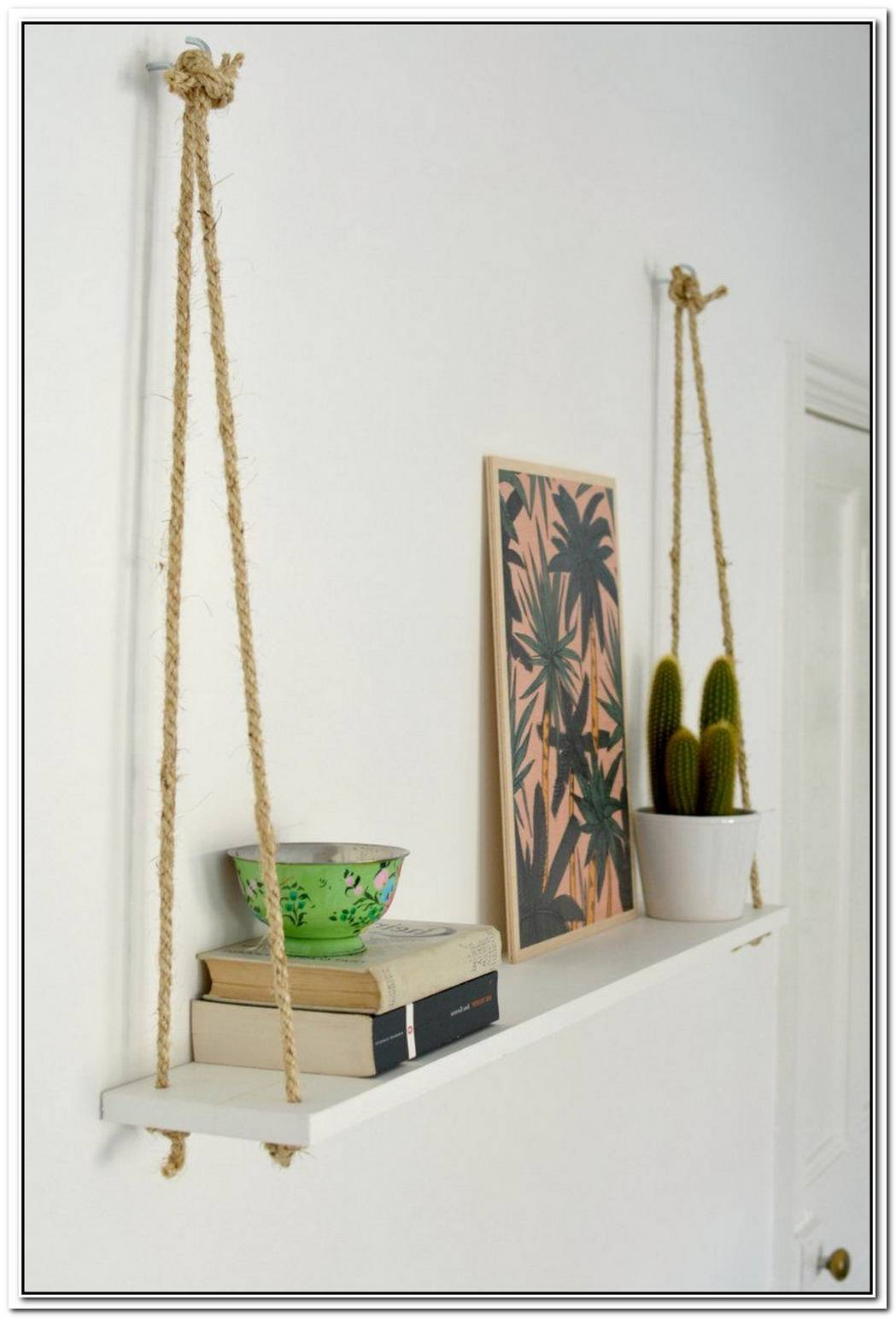 Make These Easy Hanging Rope Accent Shelves