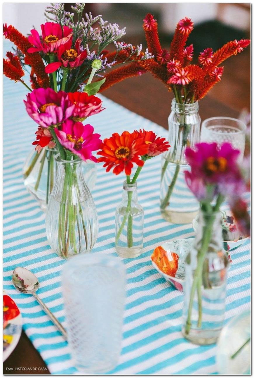 Mesa De Vidro Com Flores