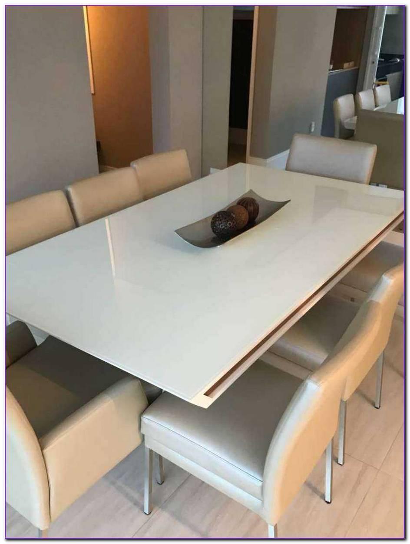 Mesa Em Laca Branca Com Vidro