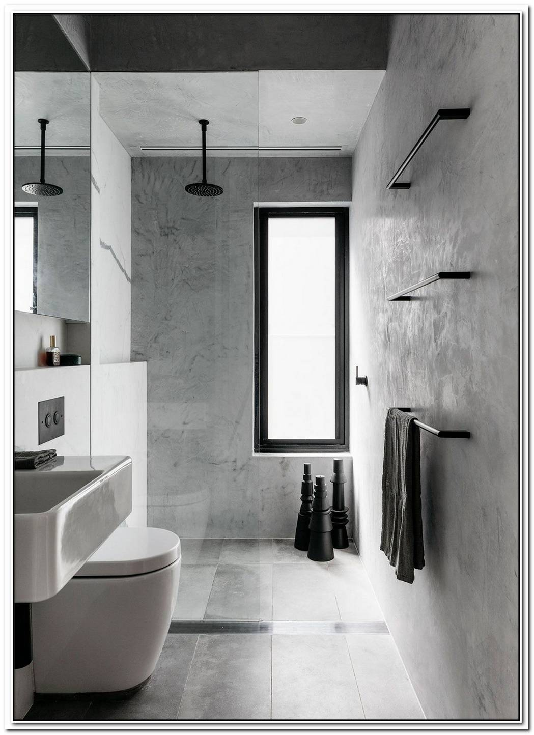 Minimalist Bathroom Black Fitting Decor