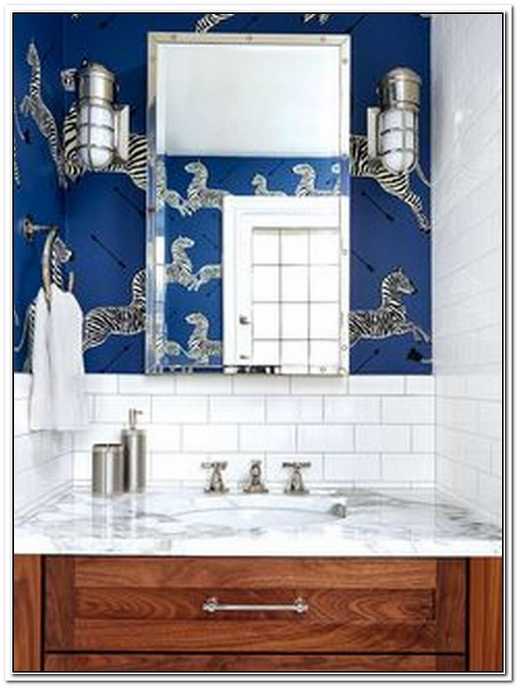 Mixed Metals And Cobalt Blue Create A Stunning Bathroom