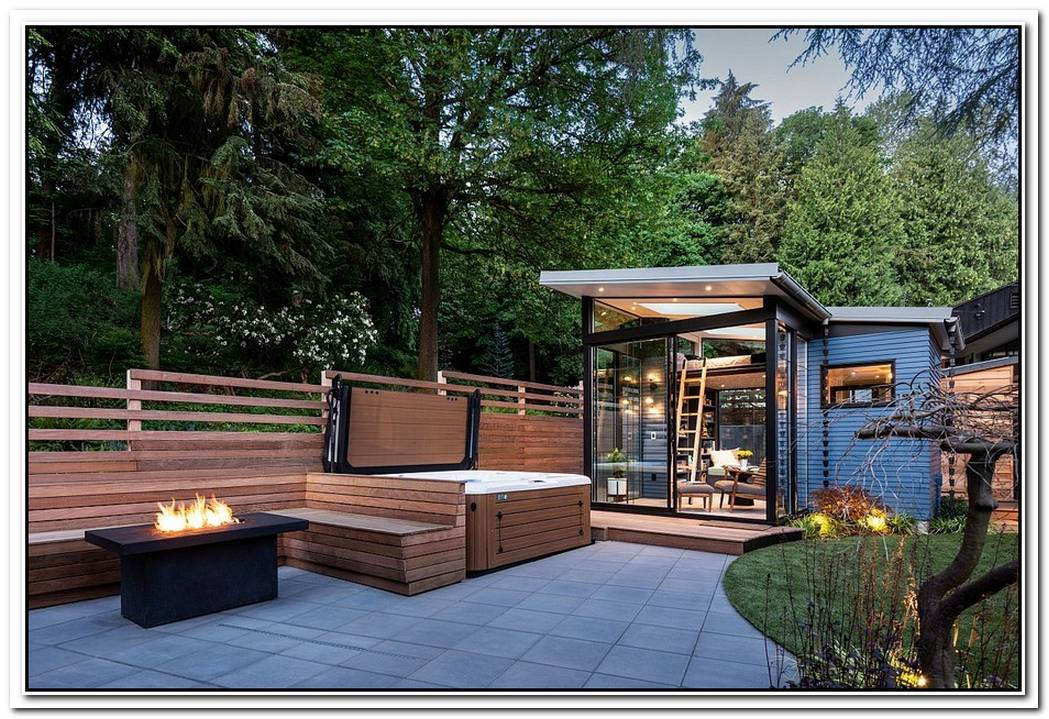 Modern Backyard Reading Shed With Skylights And Large Windows