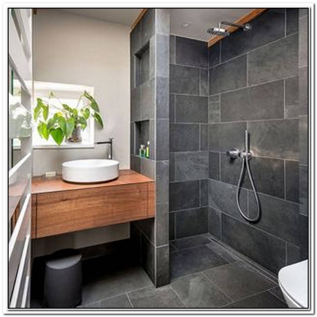Modern Traditional Bathroom Slate Floor