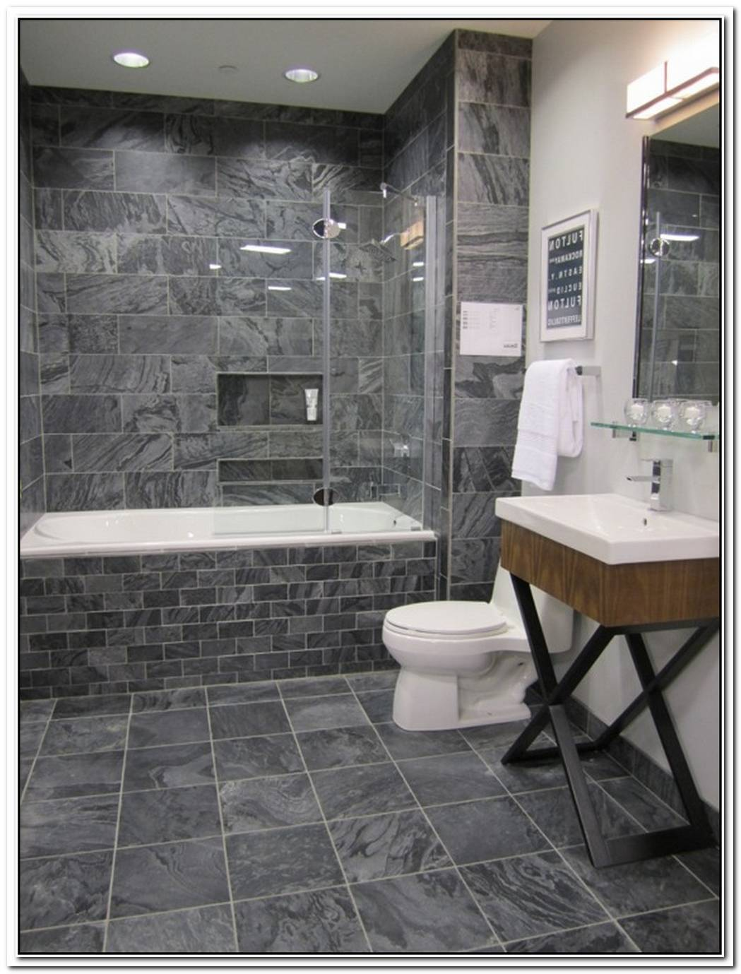 Mosaic Contemporary Bathroom Slate