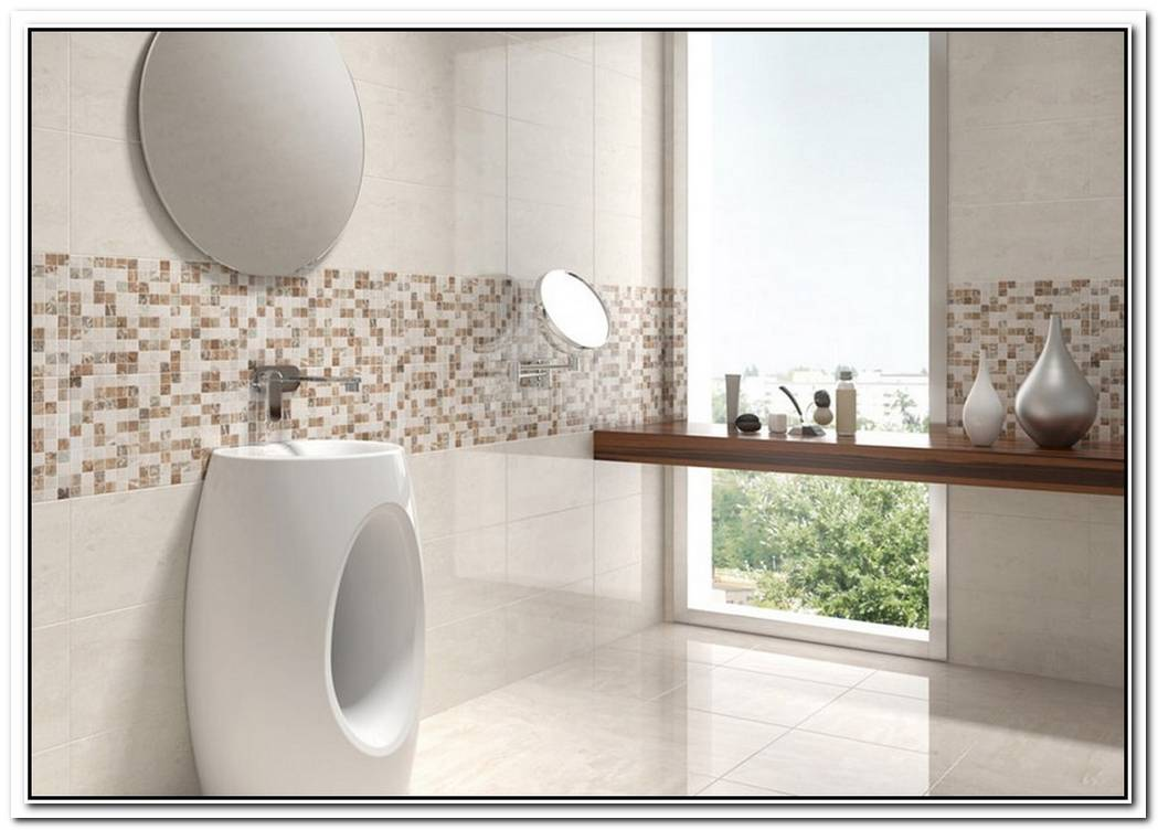 Mosaic Cream Contemporary Bathroom