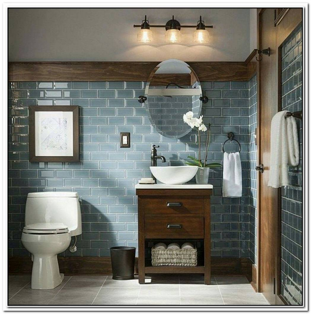 Muted Teal Blue Bathroom Modern