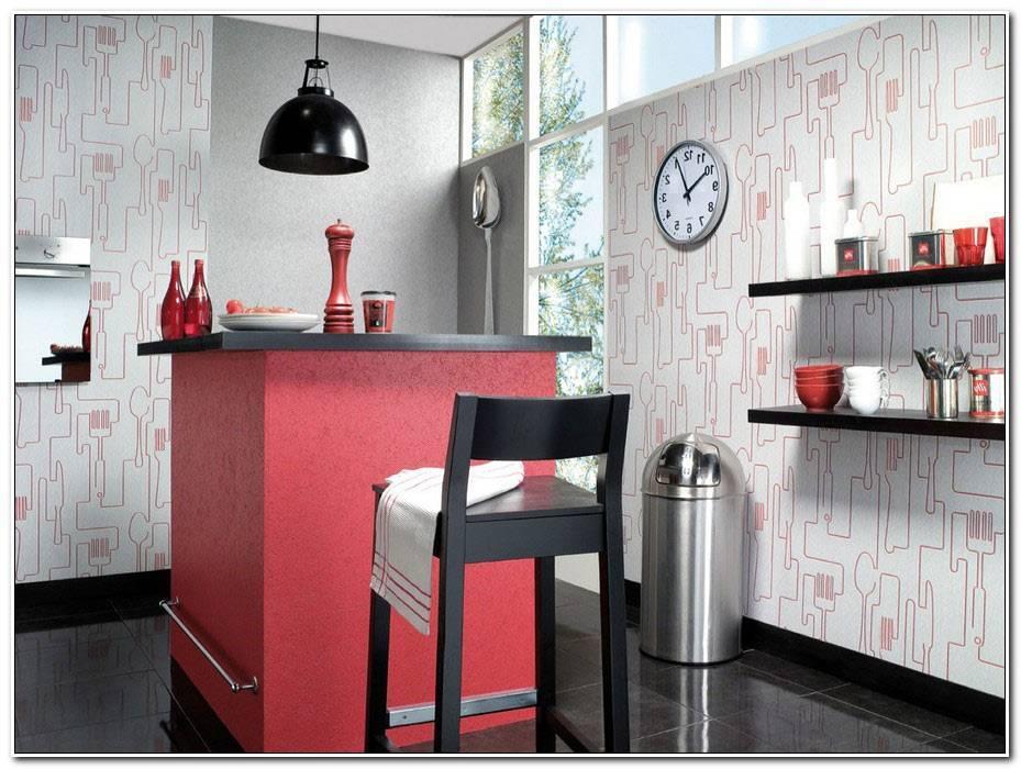 Papier Peint Cuisine Rouge Et Gris