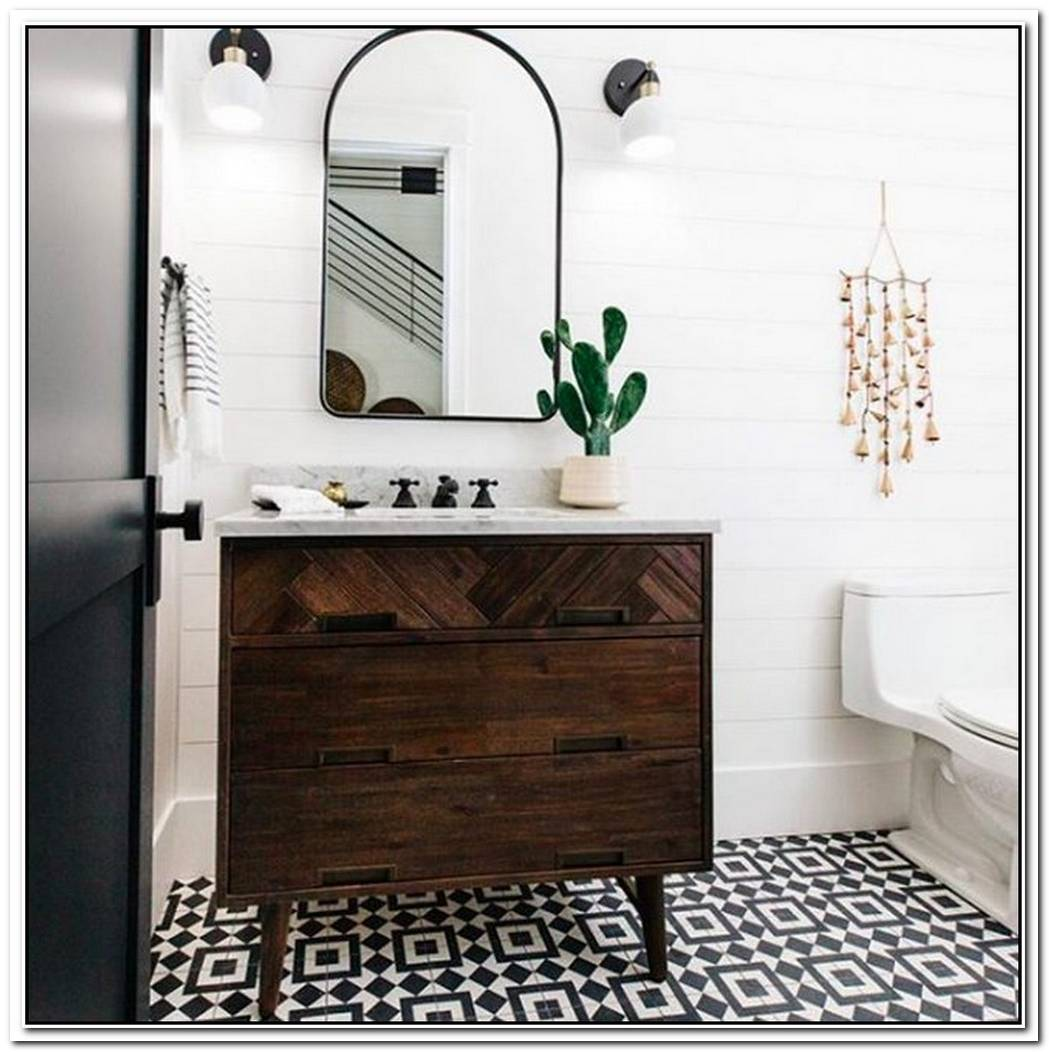 Patterned Tile And Desert Accents Elevate A Stunning Contemporary Bathroom
