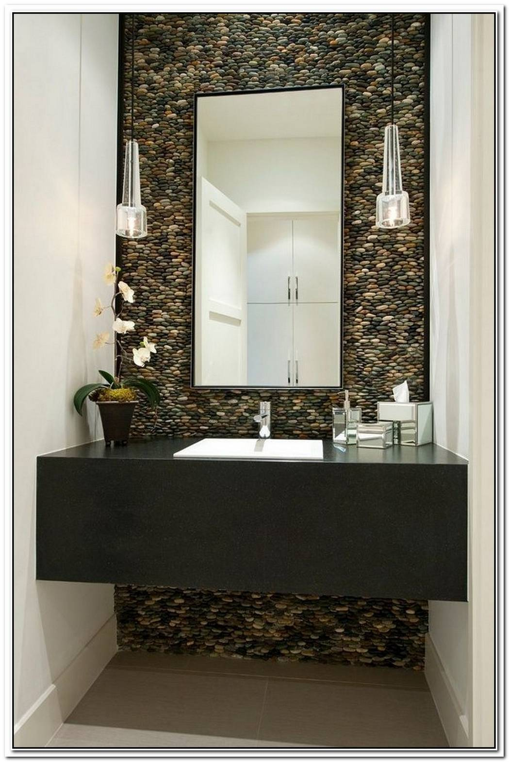 Pebble Accent Wall Bathroom