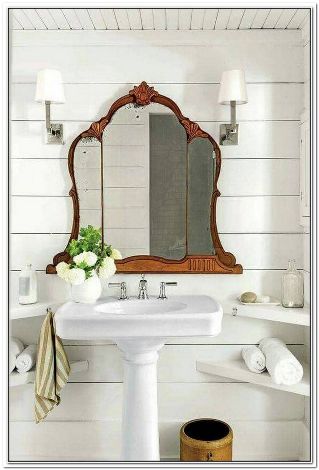 Pedestal Sink Bathroom Farmhouse