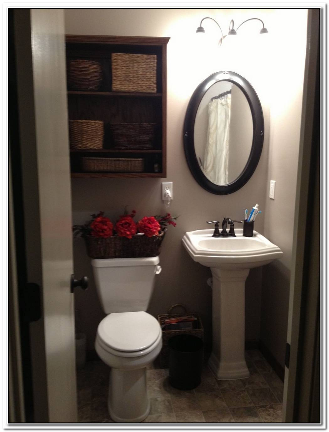 Pedestal Sink Bathroom Small Toilet