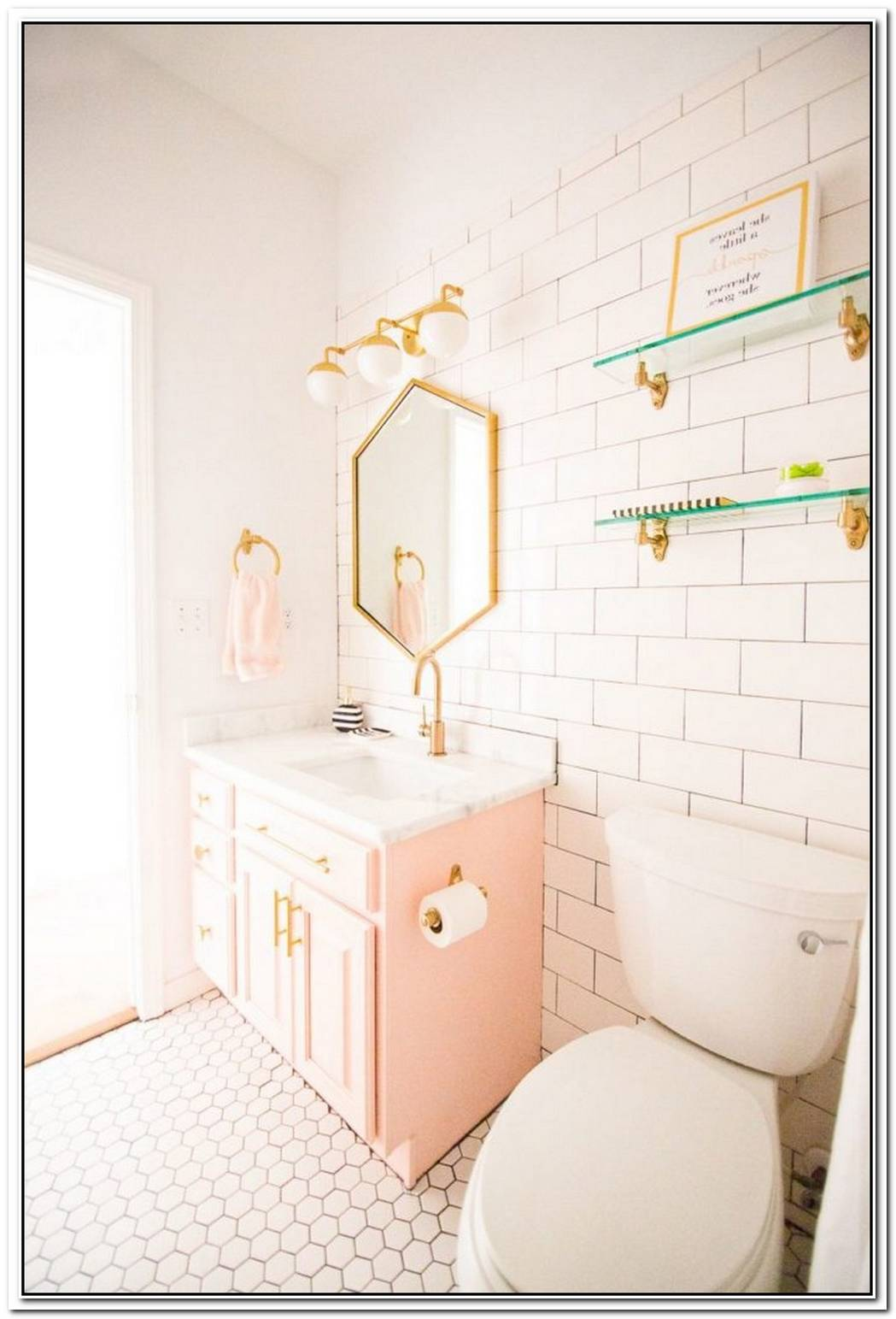 Pink Contemporary Bathroom Coral Pink