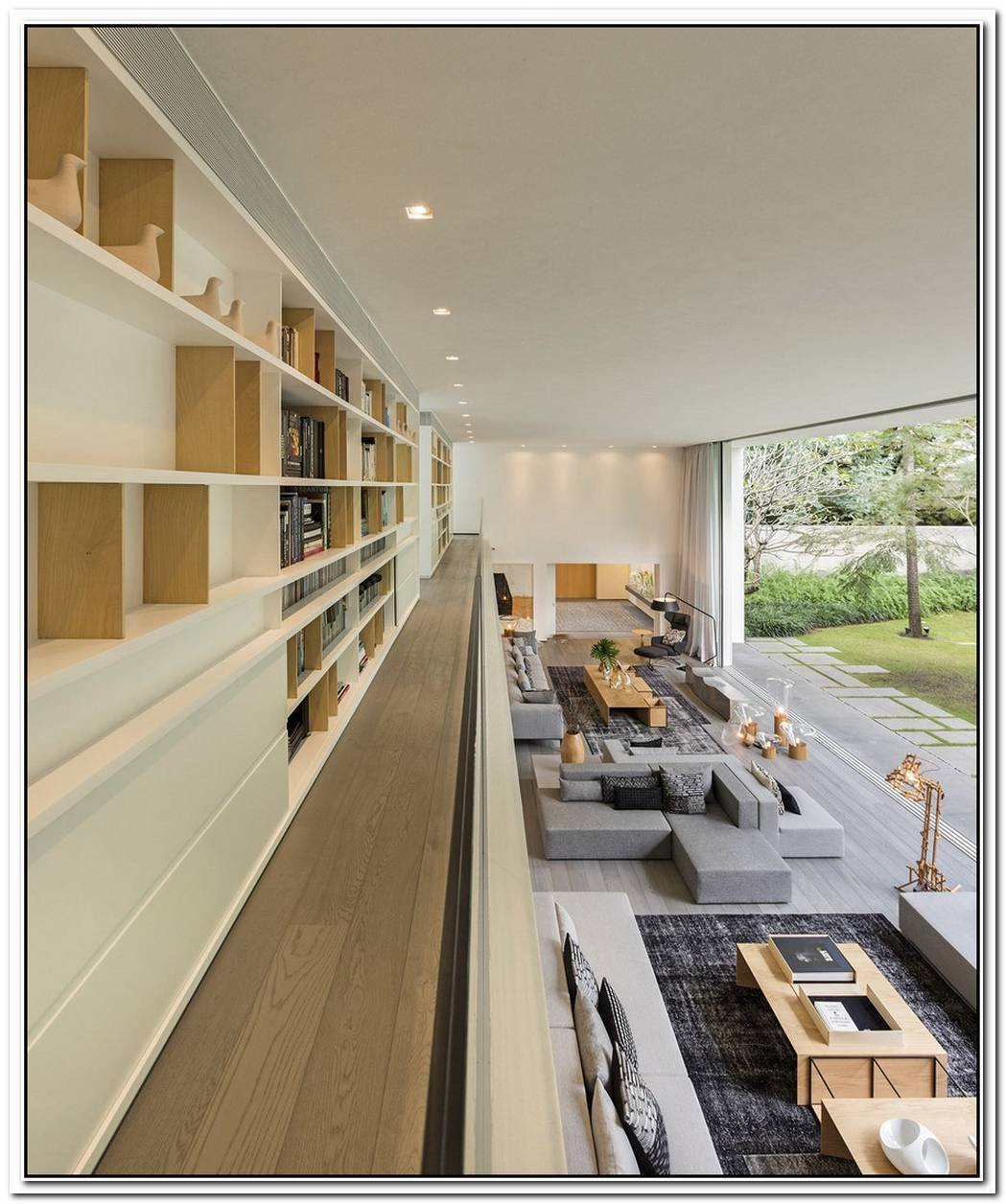 Polished Modern Interior With Dual Level Home Library