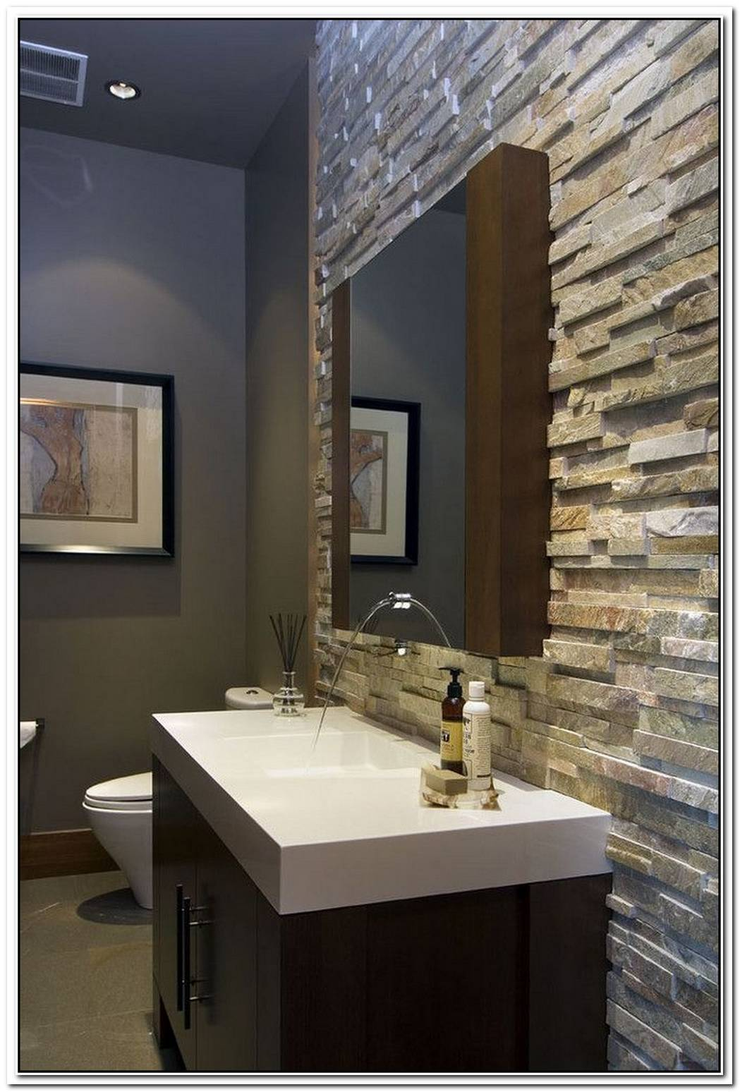 Powder Room Contemporary Bathroom Wall