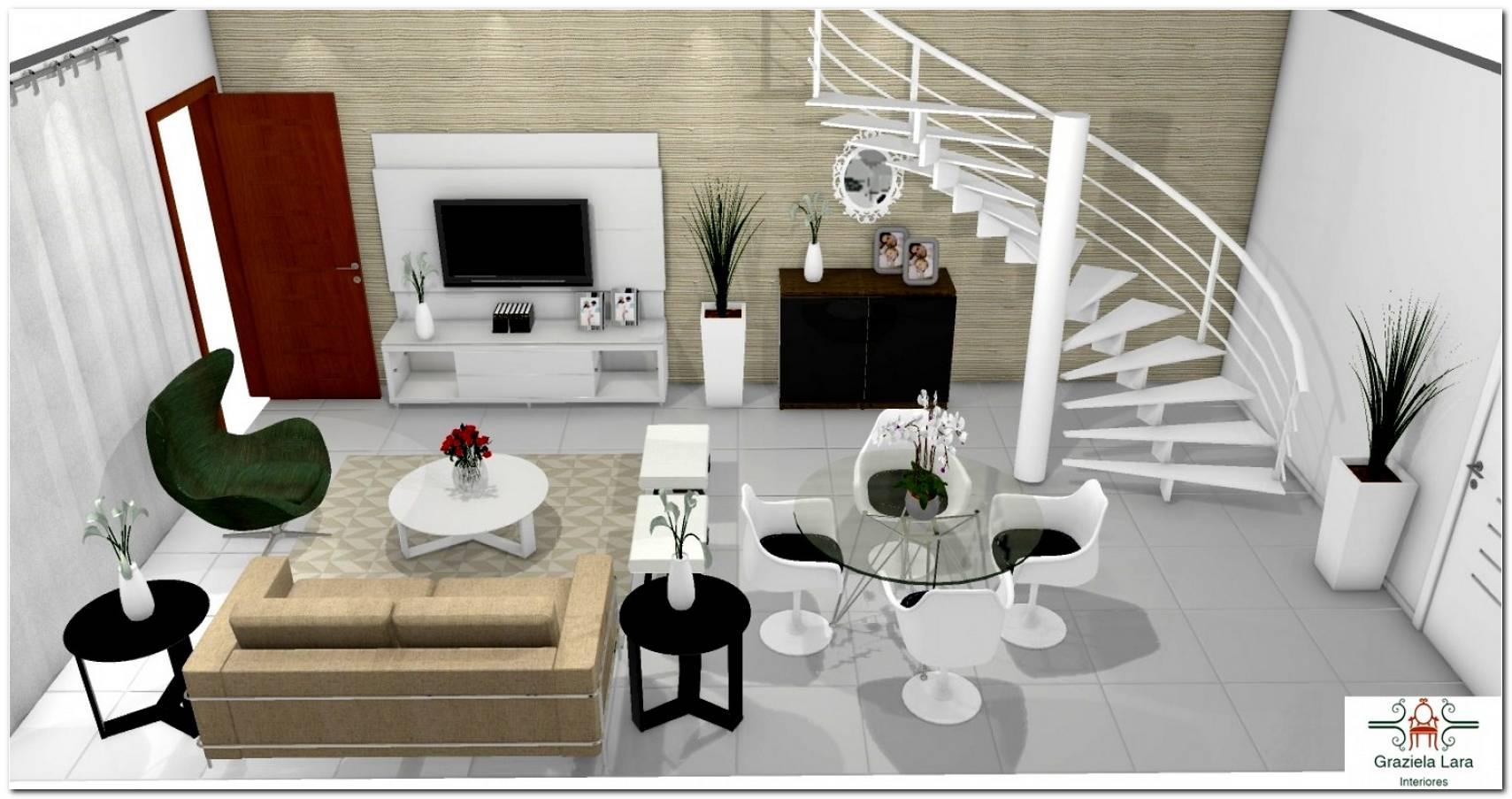 Projeto Sala Pequena Com Escada