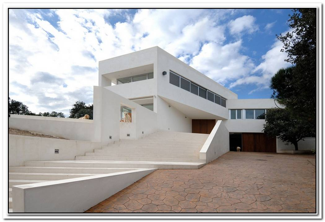 Pure White Contemporary Two Story Home Located In Valdemorillo