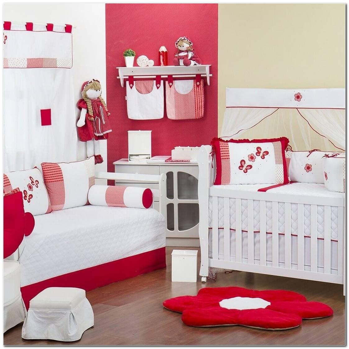 Quarto De Bebe Branco E Vermelho