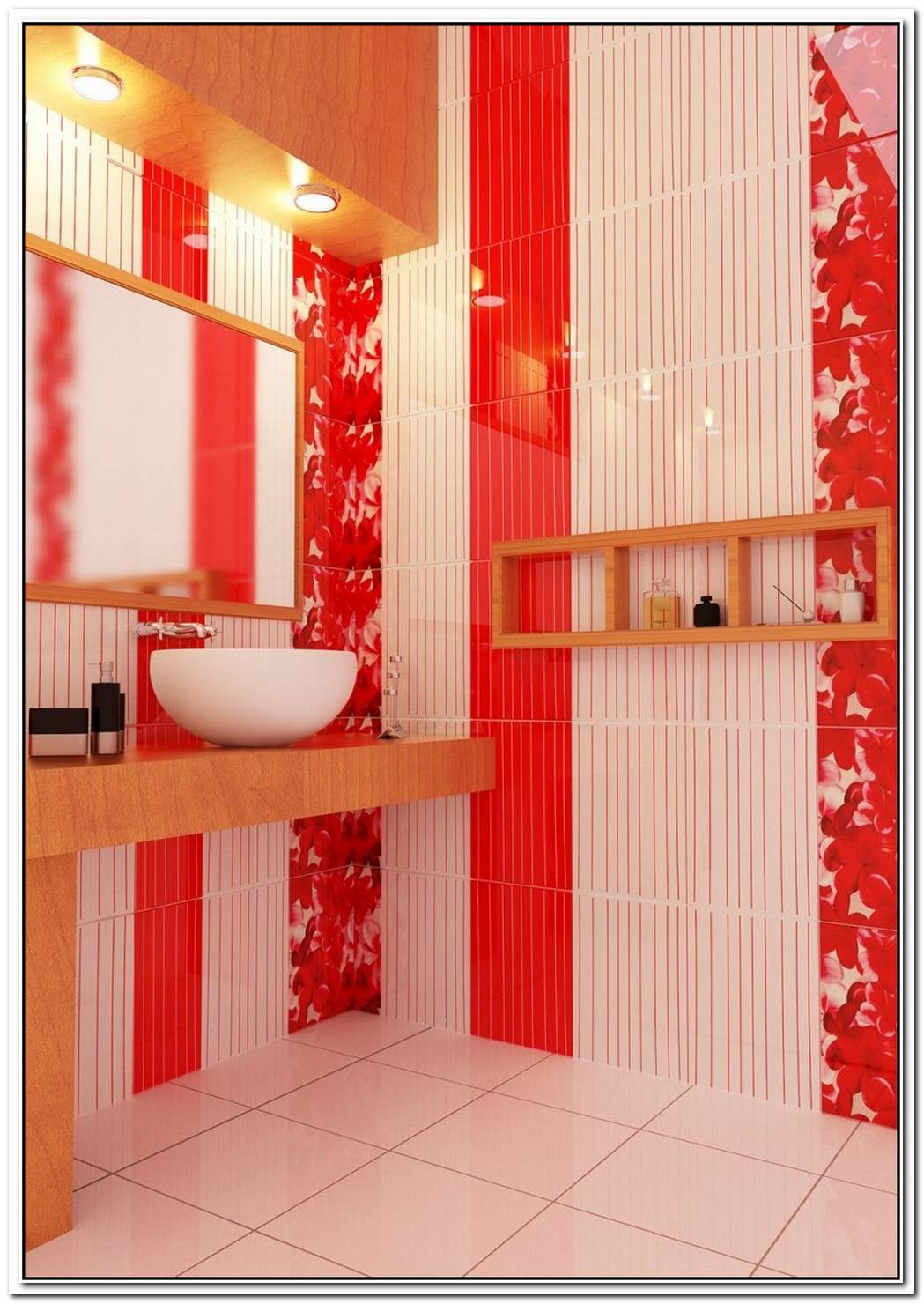 Red And White Bathroom Design