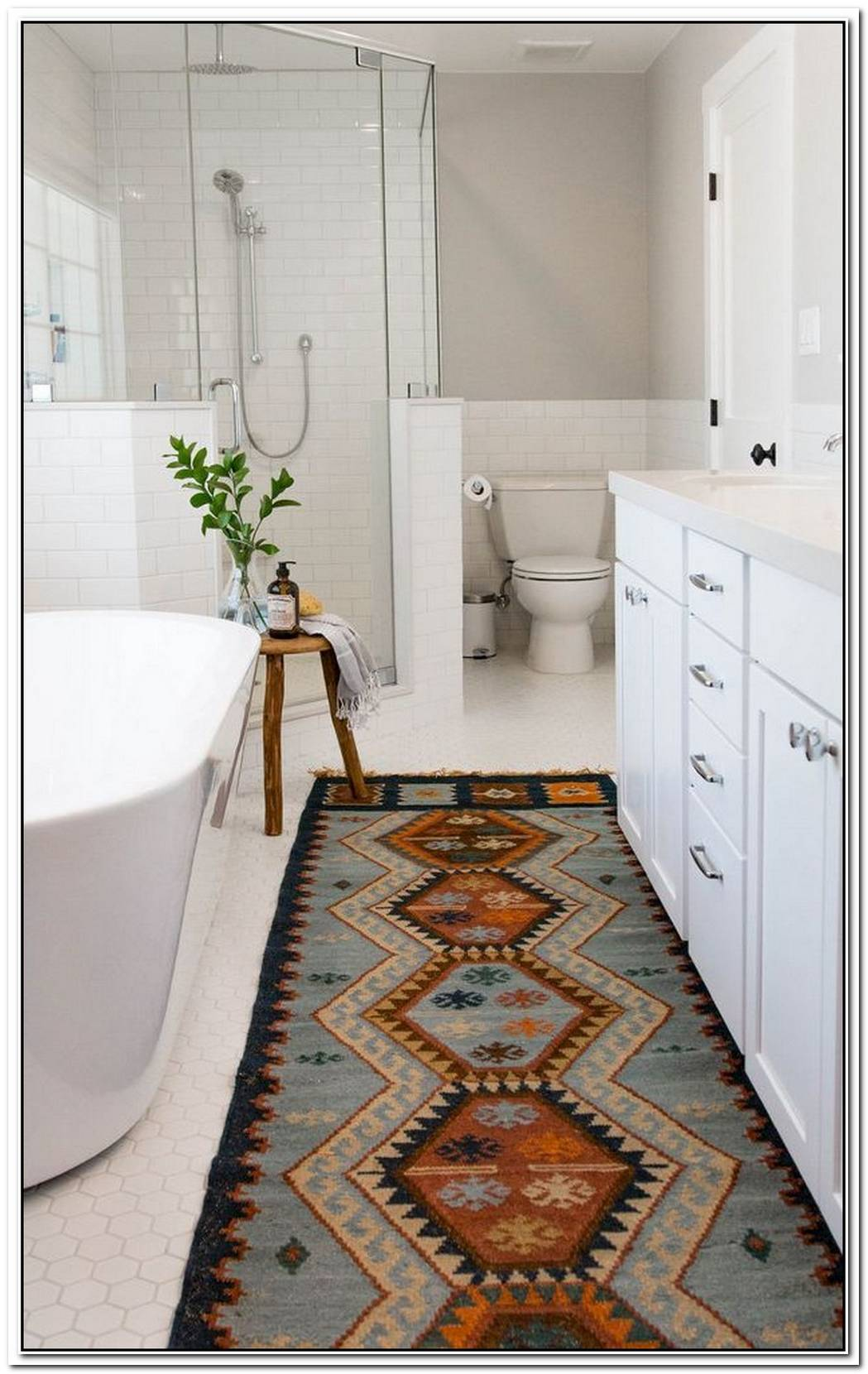 Rug Bohemian Bathroom Farmhouse