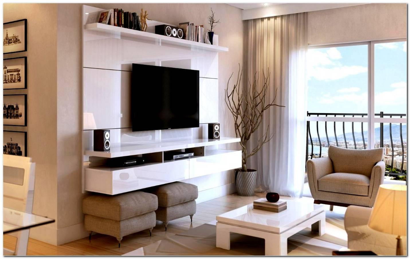 Sala Com Painel De Tv E Puff