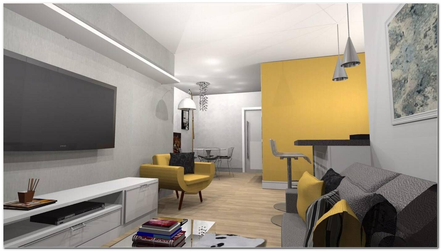 Sala De Estar Amarela E Cinza