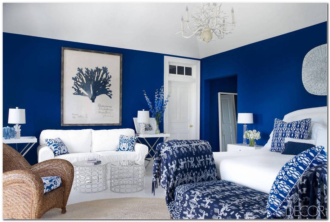 Sala De Estar Azul E Branca