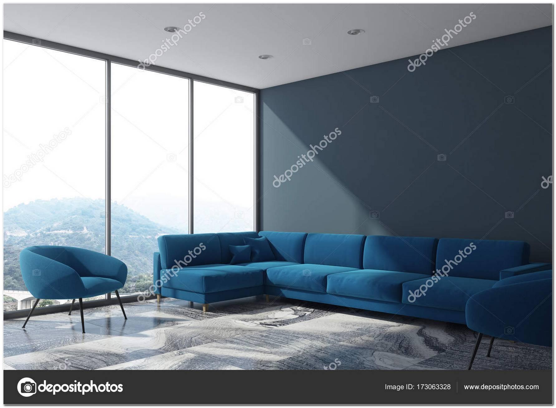 Sala De Estar Azul E Cinza
