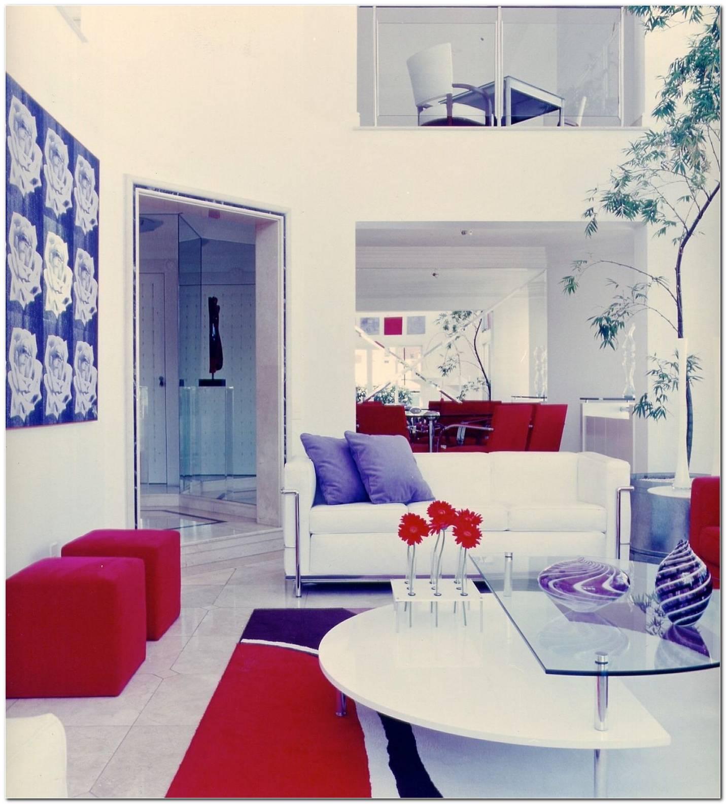 Sala De Estar Azul E Vermelho