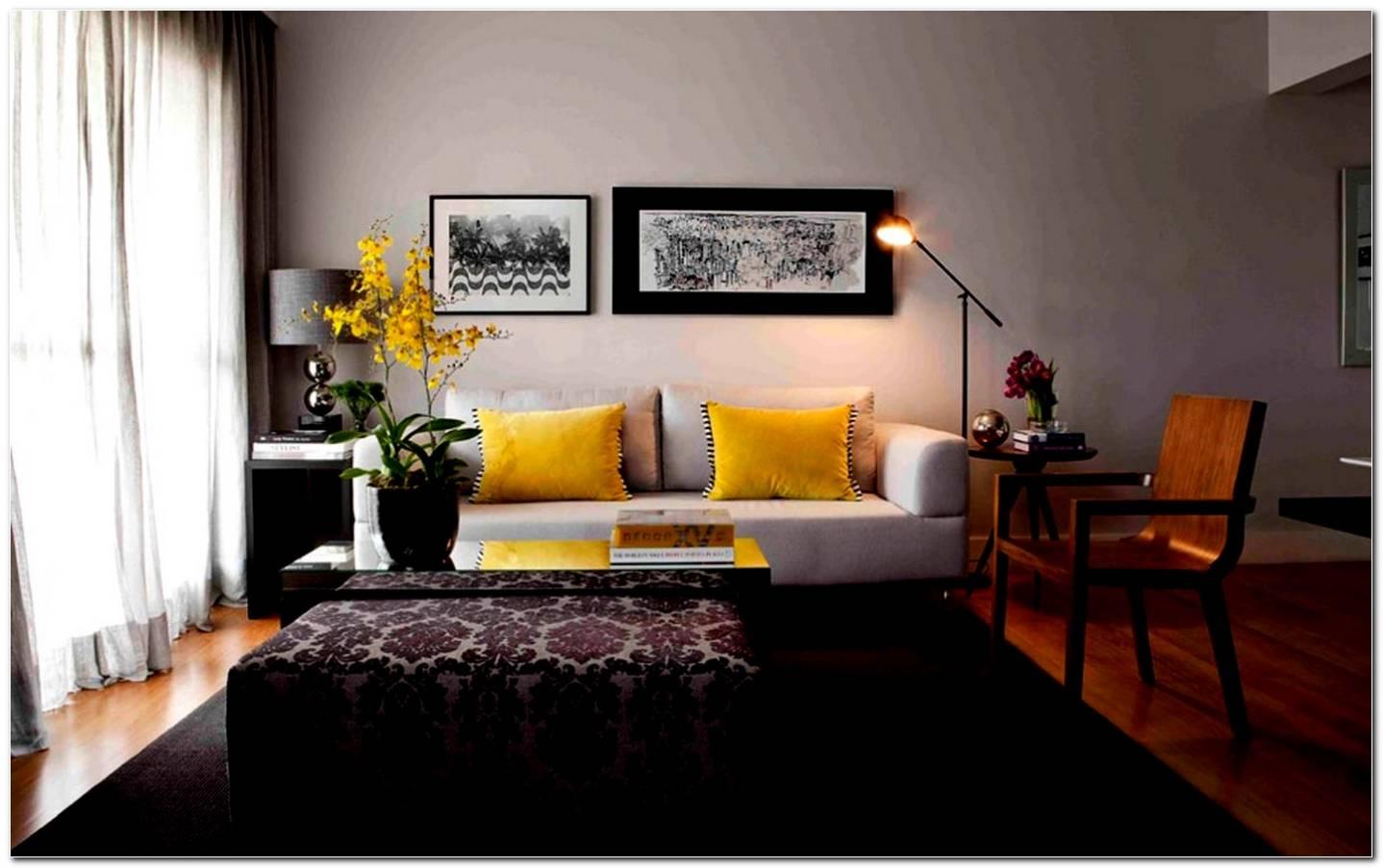 Sala De Estar Cinza Com Amarelo