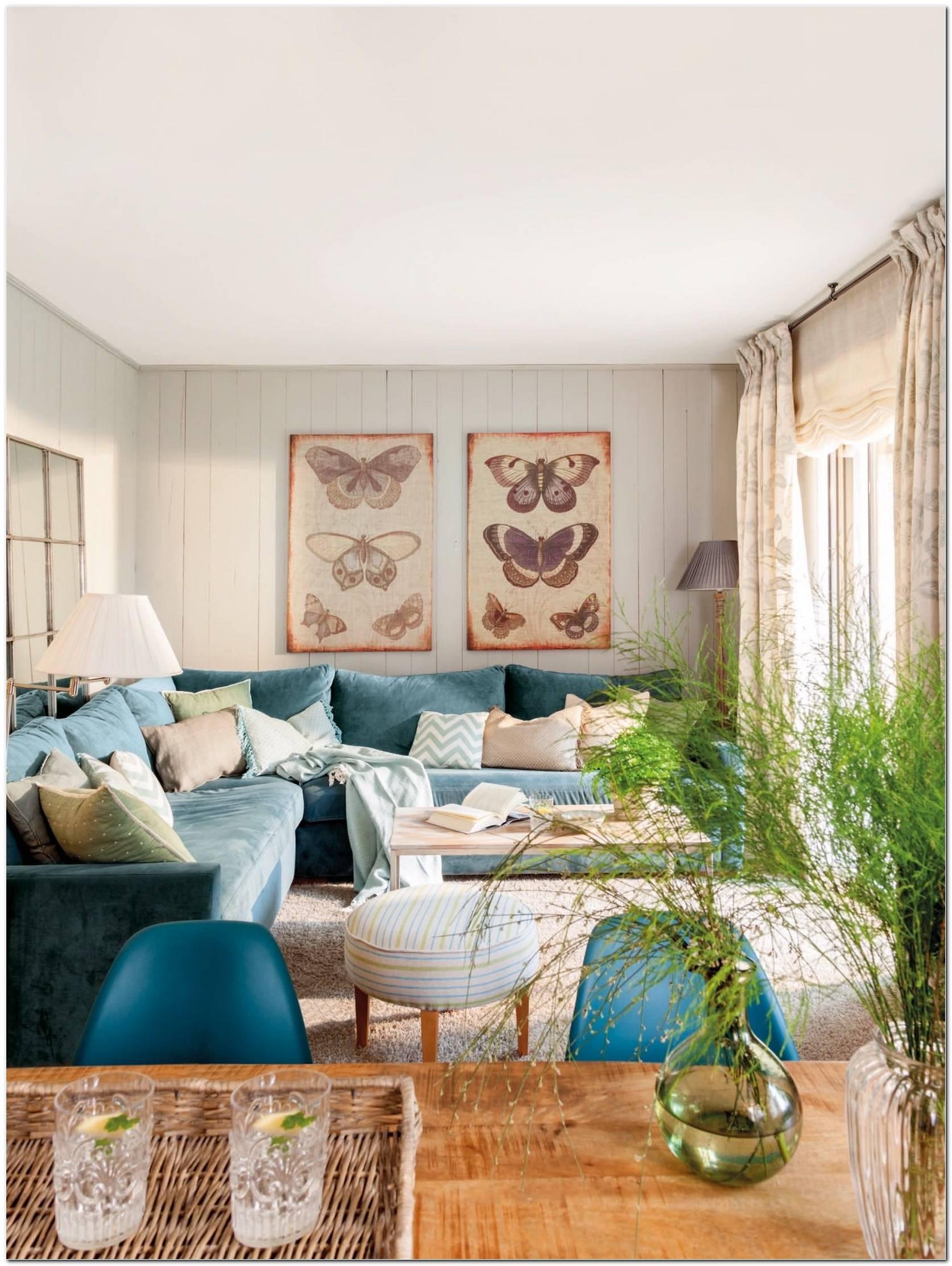 Sala De Estar Con Sofa Azul