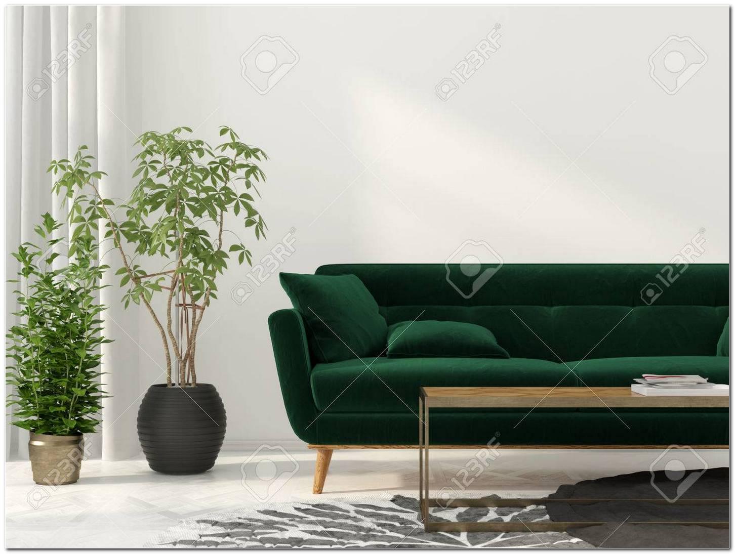 Sala De Estar Con Sofa Verde