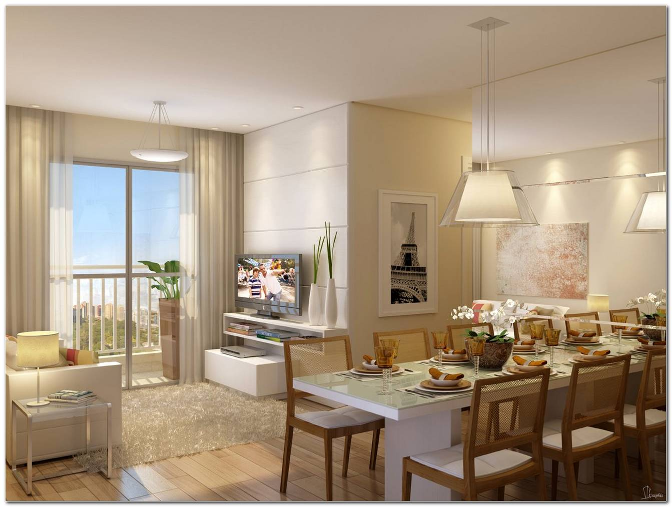 Sala De Estar E Jantar Para Apartamento Pequeno