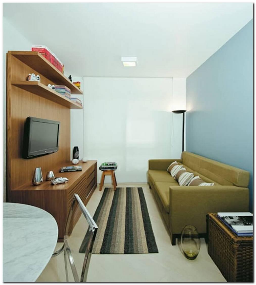 Sala De Estar Pequena Com Painel De Tv