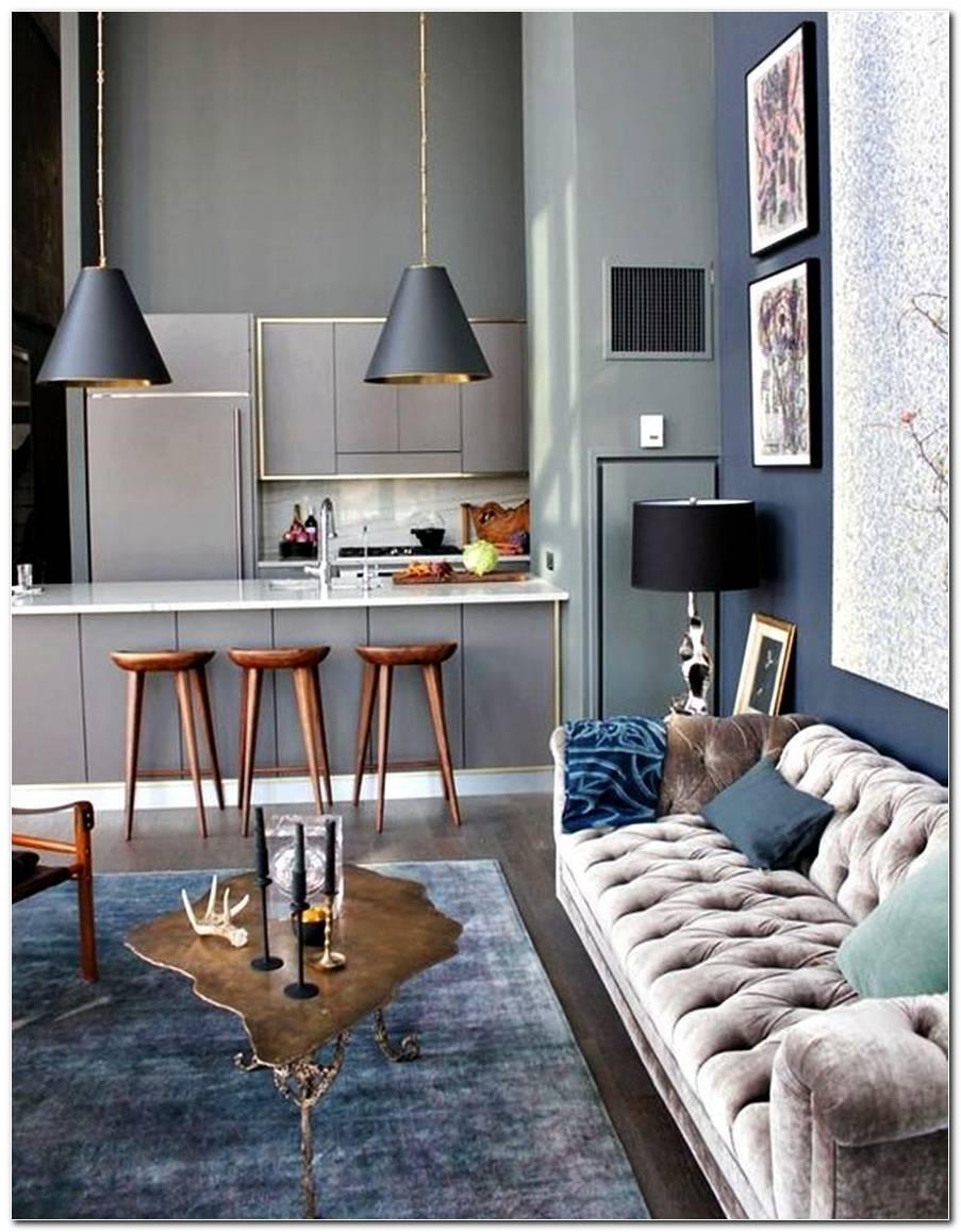 Sala De Estar Pequena Com Sofa Cinza