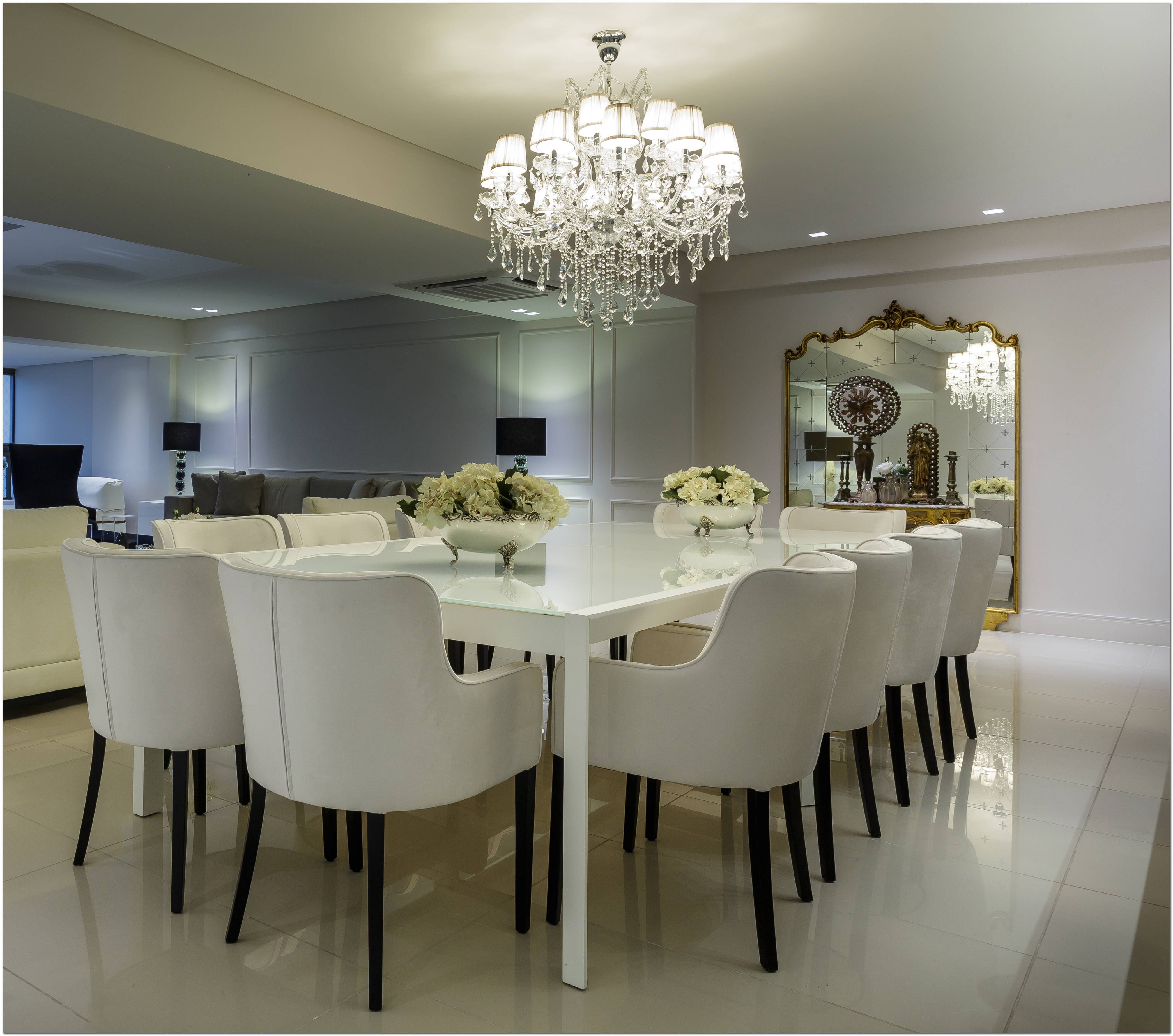 Sala De Jantar Branca Com Espelho