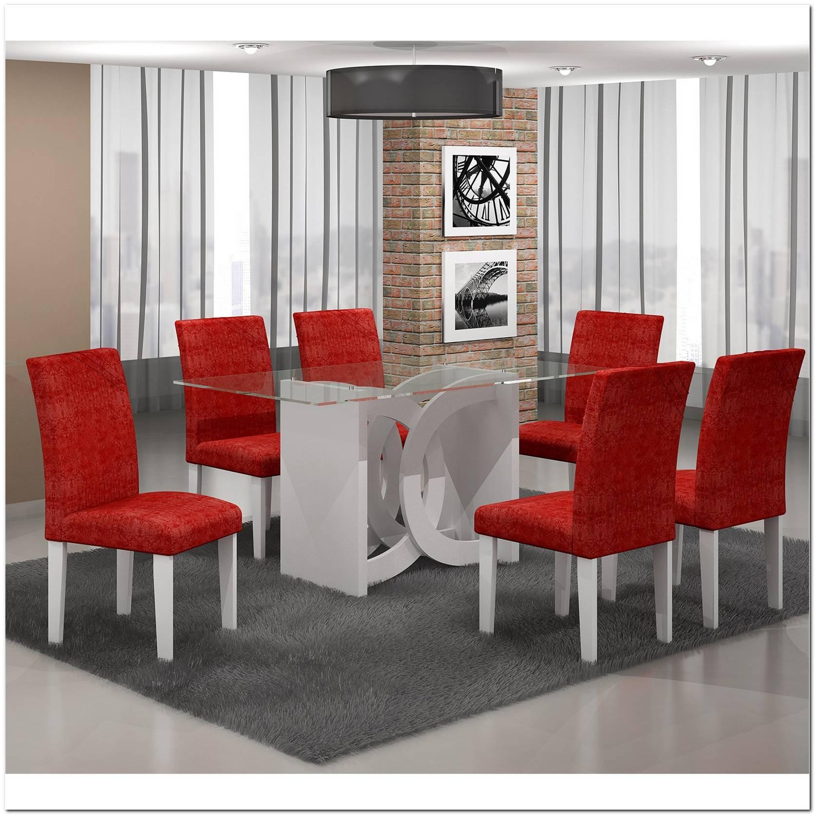 Sala De Jantar Branca E Vermelha