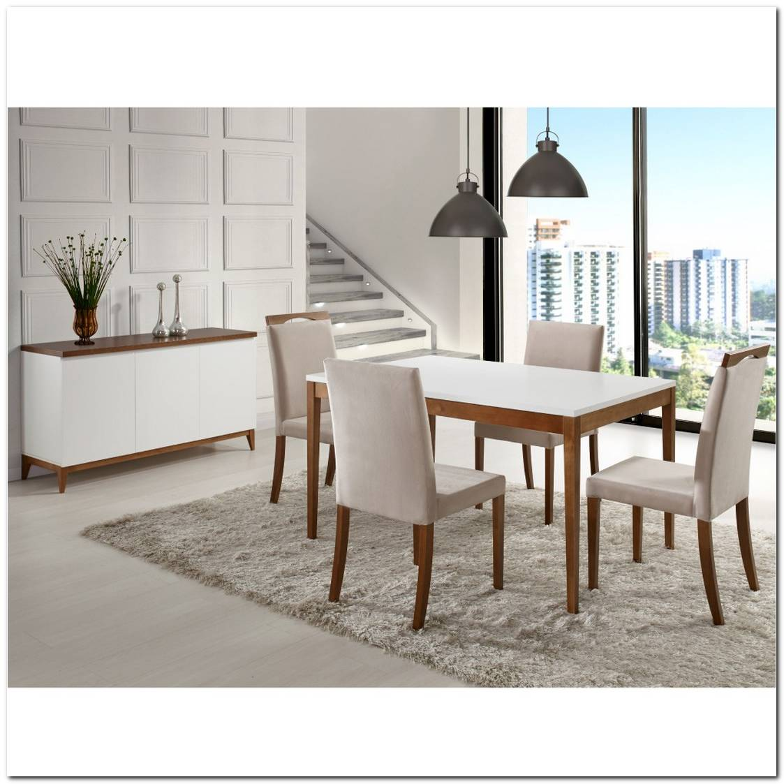 Sala De Jantar Com Buffet Branco