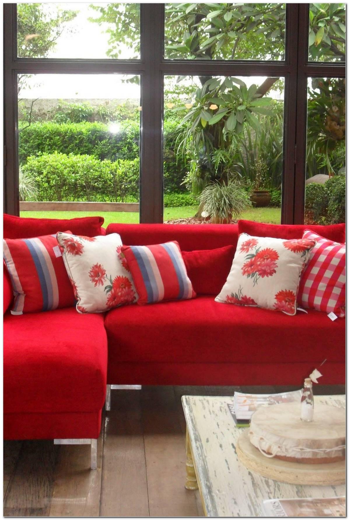 Sala De Tv Com Sofa Vermelho