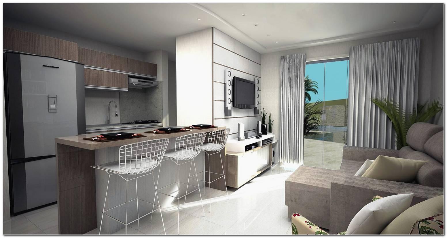 Sala De Tv Conjugada Com Sala De Jantar E Cozinha