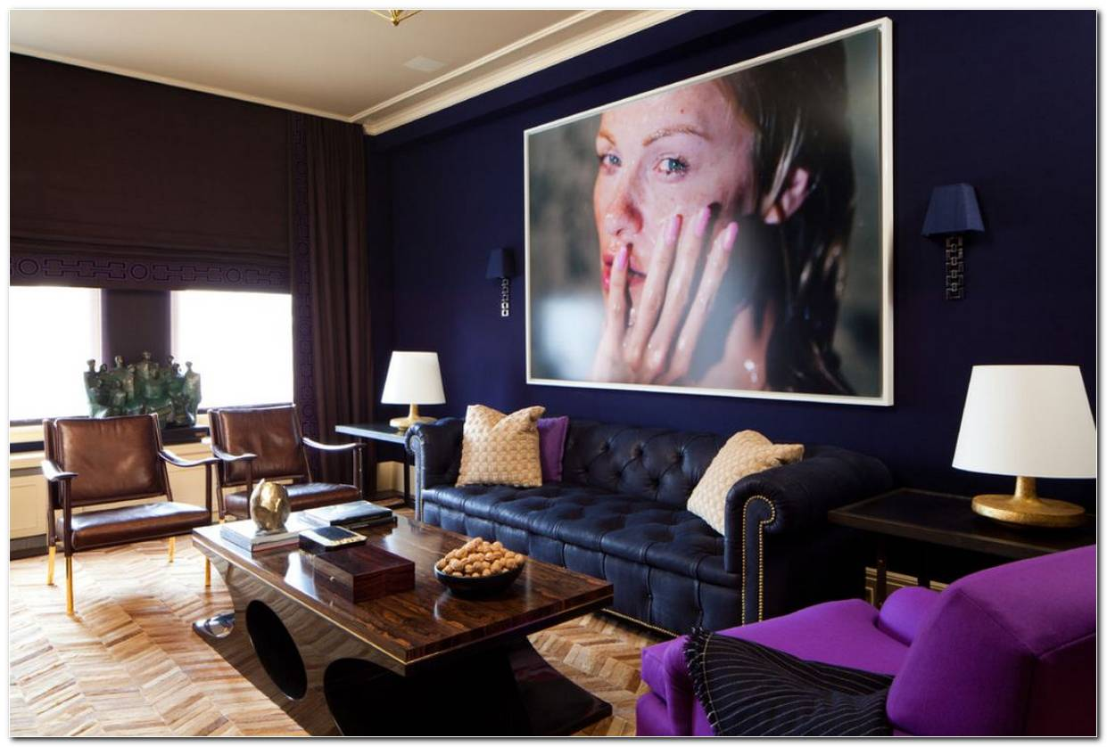 Sala De Tv Marrom E Azul