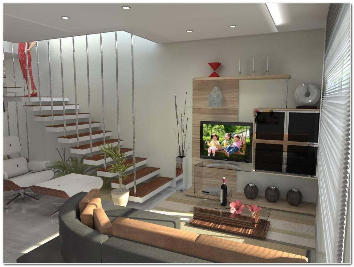 Sala De Tv Pequena Com Escada