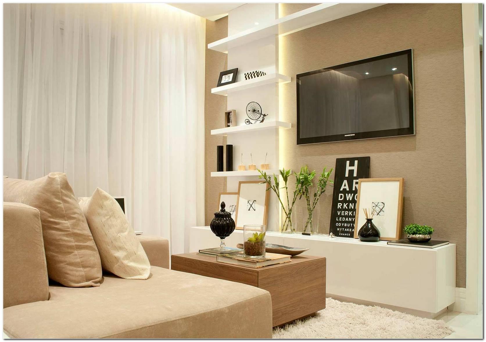 Sala De Tv Pequena Planejada Com Papel De Parede