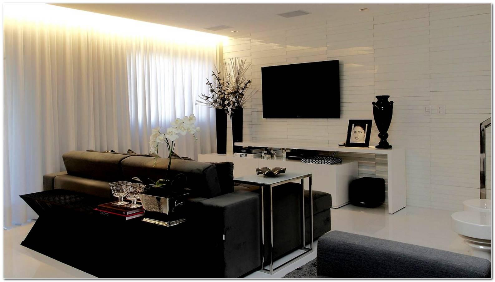 Sala De Tv Preta E Cinza