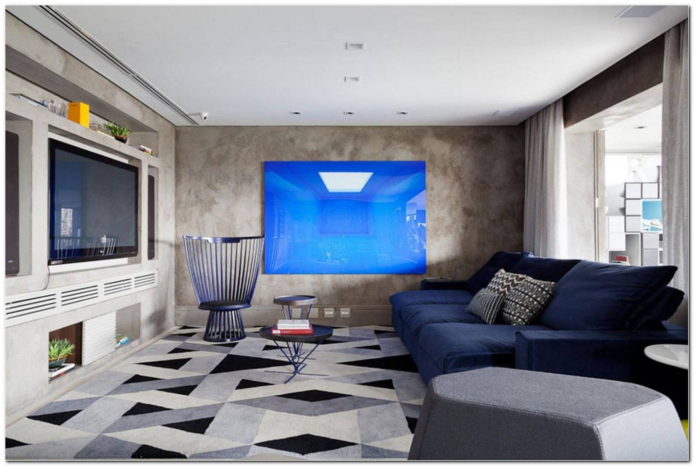 Sala De Tv Sofa Azul 1